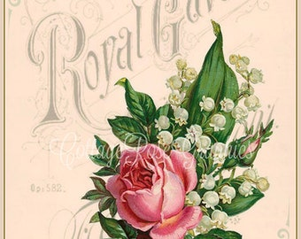 Digital Royal Gavotte vintage piano music cover pink roses download single image BUY 3 get one FREE ecs Prinatable