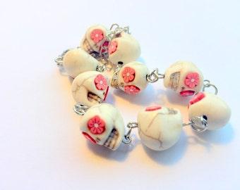 Bracelet Day of the Dead Sugar Skull Adjustable Chain Bracelet Red Flower Eyes