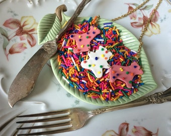 Circus Animal Frosted Sprinkle Cookies Necklace