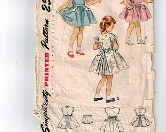 Rare 50's Little Girls Size 3 Dress and Panties Vintage Sewing Pattern Peter Pan Collar Triple Inverted Pleats Scalloped Trim Eyelet Edging