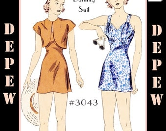 """Vintage Sewing Pattern 1930's Ladies' Pin Up Bathing Suit, Bolero and Kerchief 34"""" Bust  #3043 -INSTANT DOWNLOAD-"""