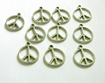 Peace Sign Charms Set of 10 Silver Color 21x18mm