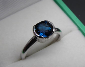 AAAA London Blue Topaz 7.0mm Round 1.69 Carats Heavy bezel set 14K White gold Stack-able Engagement ring. 2107(2)