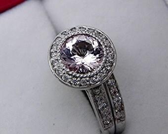 AAA Round Pink Morganite 7mm 1.35 Carat 14K white gold diamond .35ct bridal set. B007