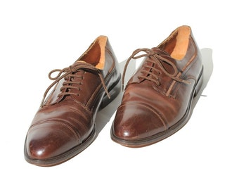 Vintage Men's Cap Toe Oxford  Brown Leather Dress Shoes / 10.5