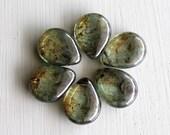 Lumi Green Flat Teardrops 16x20mm Czech Glass Beads