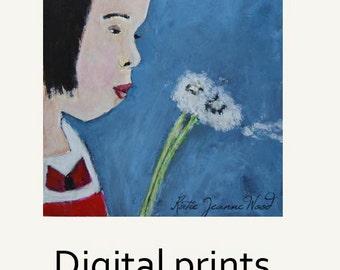 Child Portrait Painting Print. Girl & Dandelion Print. Child's Summertime Bedroom Print Decor. Apartment Summer Wall Print.