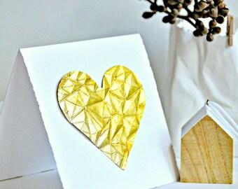 Gem Embossed Gold Leaf Love Heart Gift Card Valentine Wedding Engagement
