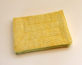 Mini Wallet with Credit Card slots and zipper Coin pocket - Light Yellow Circles - fabric