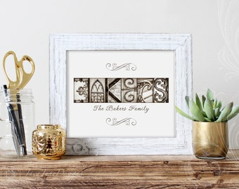 11x14 Architectural Letter Photos, Sepia Name Print, Custom Wedding Gift, Mother's Day Gift, Gold Anniversary Gift