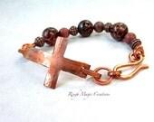 Sideways Cross Bracelet, Christian Jewelry, Faith Jewelry, Christian Bracelet, Burgundy Wine Red Bracelet, Copper Cross, Religious Bracelet