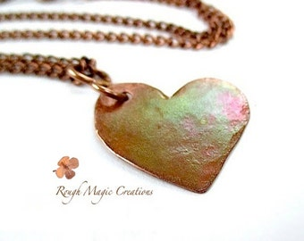 Copper Heart Pendant Necklace Antiqued Copper Chain, Rustic Wedding Bridal Bridesmaid Jewelry N292
