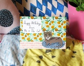 Happy Birthday from me and the cat card cc165