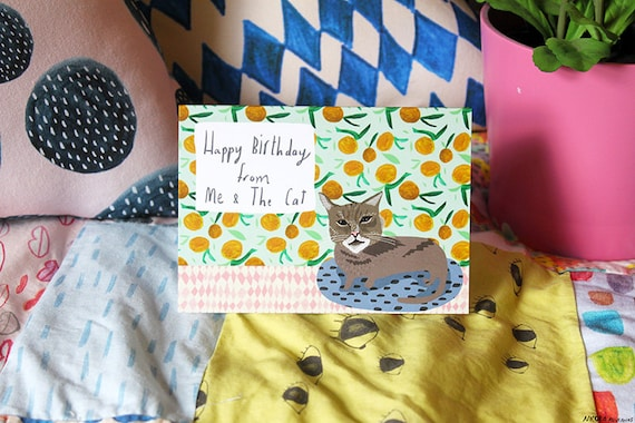 Happy Birthday from me and the cat card cc165 – Happy Birthday from the Cat Card