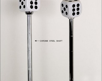 White Dice Beer tap handle, Dice Tap Handle With Steel Chrome Shaft