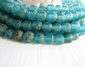 round turquoise glass beads , matte blue lampwork beads , rustic gritty textured , aged look  indonesian   (16 beads)  6ak1-1