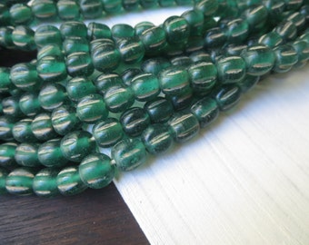 green melon glass lampwork beads, melon wavy, rustic gritty aged look , indonesian  -  8 to 9mm  / 12 beads, 5A8-10