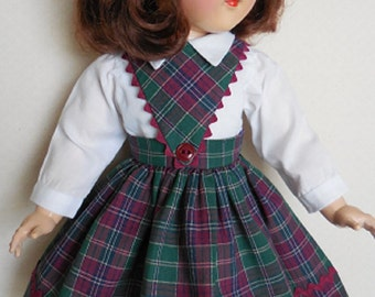 """For 21"""" Ideal P-93 Toni Doll - Schoolgirl Dress in Cranberry and Green Plaid Inspired by Original"""