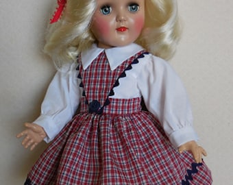 "For 16"" Ideal P-91 Toni Doll - Red/Navy Plaid Schoolgirl Dress Inspired by Original"