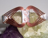 Copper and Silver Wire Wrapped Egyptian Nefertiti Style Cuff Bracelet