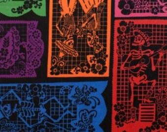 Skeletons Mi Vida En Papel Multi Black Alexander Henry Fabric 1 yard