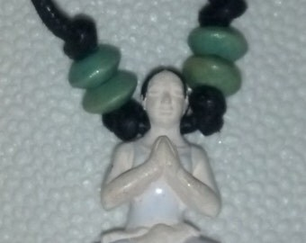 Yoga Praying Lotus Position, Yoga Woman, Yoga Pose, Meditation, Yoga Necklace Rear View Mirror Charm