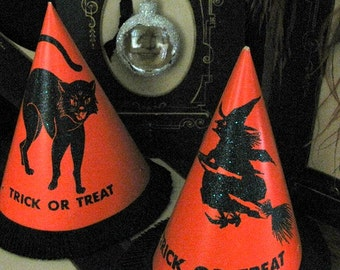Vintage Halloween Witch and Black Cat Party Hats
