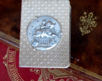 Vintage French Silver Metal Embossed Match Box, Horse Race, Executive Gift, Gatsby