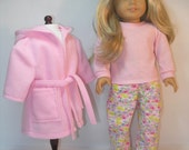 50% off sale - 18 Inch Doll Clothes Pajamas Robe Slippers fits American Girl -- 4122