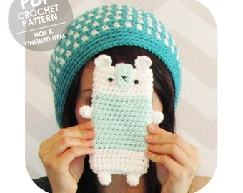 crochet pattern - amigurumi bear phone sleeve cozy - cute kawaii plushie phone case - crochet smart phone sleeve cozy case