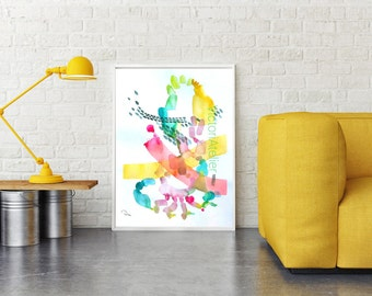 Abstract painting - Watercolor original painting on paper 19.6 x 27.5 inches colorful painting, large paper painting