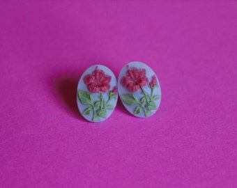 Small Red Hibiscus Cameo Earrings