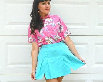 SALE 1990s Vintage Turquoise Tennis Skirt High Waist Pleated Blue Mini Skirt Brigth Blue Tennis Skirt Size Medium