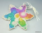Rainbow Snowflake Christmas Ornament in Fimo Filigree (Large)