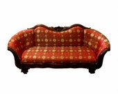 1890s Silk Edwardian Couch, Antique Upholstered Luxury, Chinese Silk Fabric