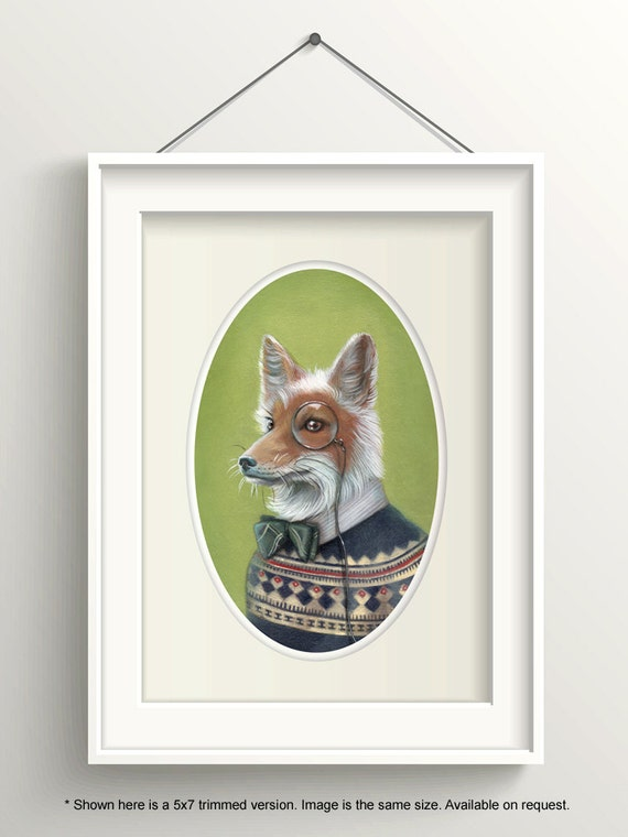 "Fox Art, Dapper Fox with Bow Tie and Monocle Painting, Fair Isle Sweater Print, Forest Animal Fine Art Print, ""Oliver"""