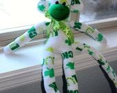 Sock Monkey Doll St. Patrick's Irish Handmade White Green Shamrocks LUCK