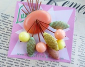 Mid Century Pastels and gold! 40s 50s bakelite fakelite style novelty atomic cherry vintage inspired brooch by Luxulite