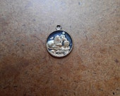 peace lamb and lion black enamel 18kt electroplated charm - antique vintage catholic charm supplies