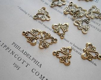 6 pcs ribbon flower vintage filigree findings antique gold connector charm
