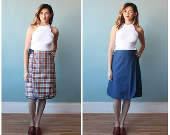 wrap skirt / reversible wrap plaid skirt / small-medium