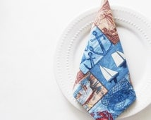 New England Coast Napkins / Boats, Shells, Atlantic Ocean, Lobsters, Beach Chairs / Blue, Brown Nautical / Set of 4 / Unique Gift Under 50