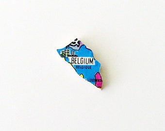1960s Belgique - Belgium Brooch - Pin / Unique Wearable History Gift Idea / Upcycled Vintage Hand Cut Wood Jewelry / Timeless Gift Under 50