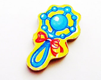 1960s Baby Rattle Brooch - Pin / Blue, Red & Yellow Accessory / Upcycled Hand Cut Wood Puzzle Piece / New Mom Gift Under 25
