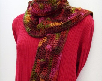 Lola Cola Scarf / Brown - Red - Gold - Green Bubbles / Autumn Leaf - Jewel Tone Colors Scarf / Crochet Fashion / OOAK Gift Under 50