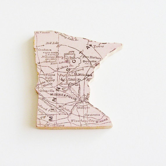 Minnesota Brooch Pin / Unique Wearable History Gift Idea / Upcycled Antique 1907 Rand McNally Wood Piece / Timeless Gift Under 50