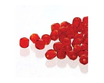 True2 Czech Firepolish Beads Siam Red 18149 (600), 2mm Beads, Tiny Round Glass Beads, Faceted Glass Beads, Precoisa Beads