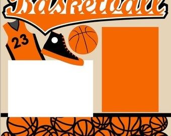 Basketball 2-page 12X12 Scrapbook Page Kit or Premade Layout - You choose color