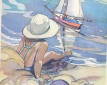 At the Beach Robert Louis Stevenson Watercolor Large Lithograph Book Art Page Child at Play Ocean Voyage Sailing Ship in Muted Earthtones