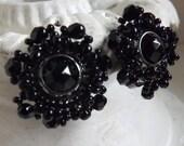 Vintage jet black rhinestone and seed bead cluster earrings silver tone clip on earrings